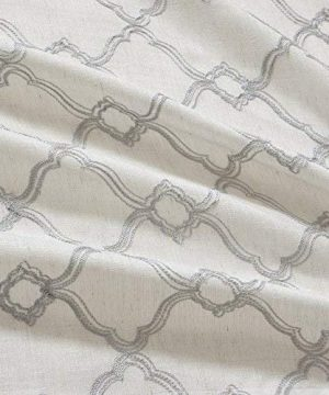 Comfort Spaces Bridget Faux Linen Fretwork Window Curtain Embroidery Design Grommet Top Panel Pair With Tie Backs 50x84 Grey 0 1 300x360