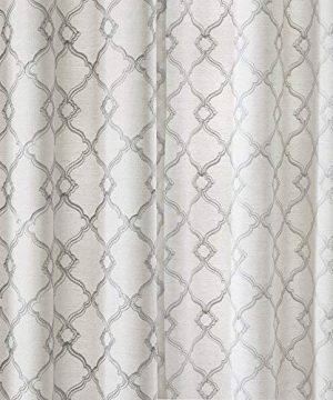 Comfort Spaces Bridget Faux Linen Fretwork Window Curtain Embroidery Design Grommet Top Panel Pair With Tie Backs 50x84 Grey 0 2 300x360