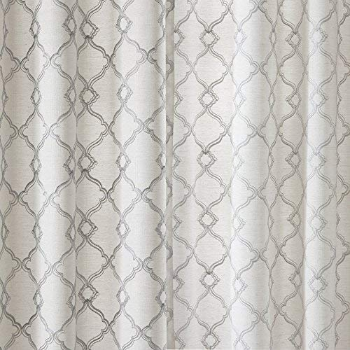 Comfort Spaces Bridget Faux Linen Fretwork Window Curtain Embroidery Design Grommet Top Panel Pair With Tie Backs 50x84 Grey 0 2