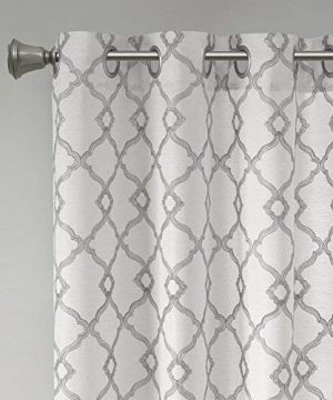 Comfort Spaces Bridget Faux Linen Fretwork Window Curtain Embroidery Design Grommet Top Panel Pair With Tie Backs 50x84 Grey 0 3 300x360