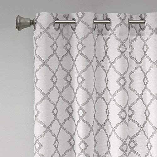 Comfort Spaces Bridget Faux Linen Fretwork Window Curtain Embroidery Design Grommet Top Panel Pair With Tie Backs 50x84 Grey 0 3