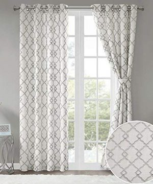 Comfort Spaces Bridget Faux Linen Fretwork Window Curtain Embroidery Design Grommet Top Panel Pair With Tie Backs 50x84 Grey 0 300x360