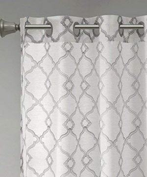 Comfort Spaces Bridget Faux Linen Fretwork Window Curtain Embroidery Design Grommet Top Panel Pair With Tie Backs 50x84 Grey 0 4 300x360