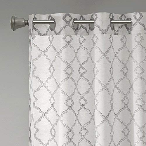 Comfort Spaces Bridget Faux Linen Fretwork Window Curtain Embroidery Design Grommet Top Panel Pair With Tie Backs 50x84 Grey 0 4