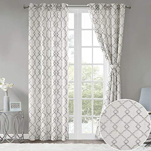 Comfort Spaces Bridget Faux Linen Fretwork Window Curtain Embroidery Design Grommet Top Panel Pair With Tie Backs 50x84 Grey 0