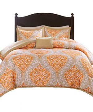 Comfort Spaces Coco 3 Piece Comforter Set Ultra Soft Printed Damask Pattern Hypoallergenic Bedding TwinTwin XL Orange Taupe 0 300x360