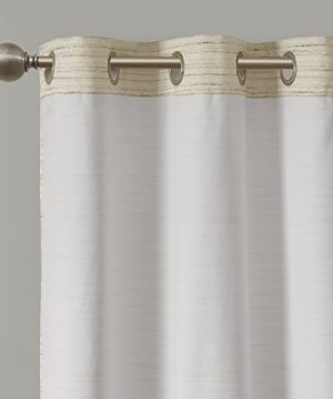 Comfort Spaces Grasscloth Blackout Window Curtain Pair 2 Pieces Panels Grommet Top Energy Efficient Saving Drapes For Living Room Bedroom And Dorm 95 Inch Ivory 0 300x360