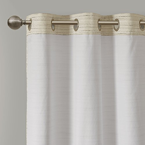 Comfort Spaces Grasscloth Blackout Window Curtain Pair 2 Pieces Panels Grommet Top Energy Efficient Saving Drapes For Living Room Bedroom And Dorm 95 Inch Ivory 0
