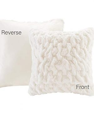Comfort Spaces Ruched Faux Fur Plush 3 Piece Throw Blanket Set Ultra Soft Fluffy With 2 Square Pillow Covers 50x60 Ivory 0 1 300x360