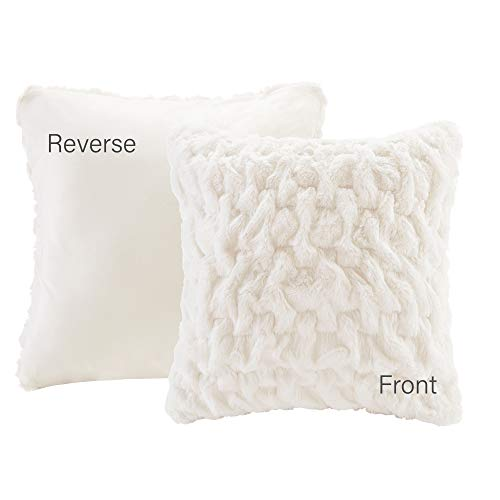 Comfort Spaces Ruched Faux Fur Plush 3 Piece Throw Blanket Set Ultra Soft Fluffy With 2 Square Pillow Covers 50x60 Ivory 0 1