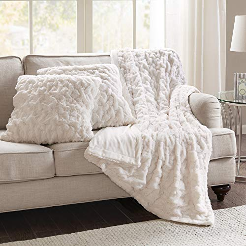 Comfort Spaces Ruched Faux Fur Plush 3 Piece Throw Blanket Set Ultra Soft Fluffy With 2 Square Pillow Covers 50x60 Ivory 0