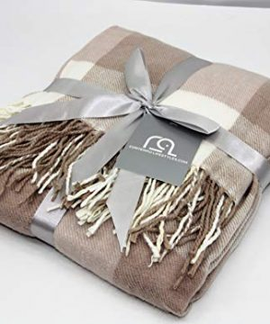 Contempo Lifestyles Holiday Christmas Blanket Plaid Throw Blanket 50 X 60 Inch Decorative Classic Blanket Comfortable And Ultra Soft Ideal For Living Room Couch Travelling LatteIvory 0 2 300x360