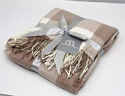 Contempo Lifestyles Holiday Christmas Blanket Plaid Throw Blanket 50 X 60 Inch Decorative Classic Blanket Comfortable And Ultra Soft Ideal For Living Room Couch Travelling LatteIvory 0 2
