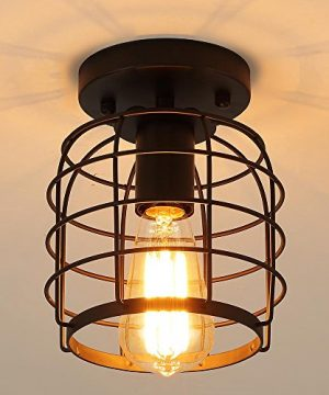 Create For Life Industrial Vintage Flush Mount Ceiling LightRustic Metal Cage Pendant Lighting Lamp Fixture For Hallway Stairway Kitchen Garage E26 Black Painting Finish 0 0 300x360