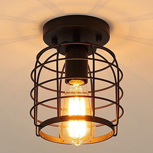 Create For Life Industrial Vintage Flush Mount Ceiling LightRustic Metal Cage Pendant Lighting Lamp Fixture For Hallway Stairway Kitchen Garage E26 Black Painting Finish 0 0