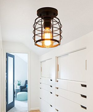 Create For Life Industrial Vintage Flush Mount Ceiling LightRustic Metal Cage Pendant Lighting Lamp Fixture For Hallway Stairway Kitchen Garage E26 Black Painting Finish 0 1 300x360
