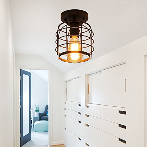 Create For Life Industrial Vintage Flush Mount Ceiling LightRustic Metal Cage Pendant Lighting Lamp Fixture For Hallway Stairway Kitchen Garage E26 Black Painting Finish 0 1