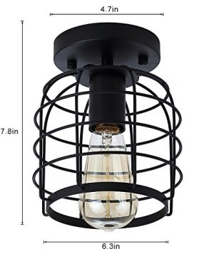 Create For Life Industrial Vintage Flush Mount Ceiling LightRustic Metal Cage Pendant Lighting Lamp Fixture For Hallway Stairway Kitchen Garage E26 Black Painting Finish 0 2 300x360
