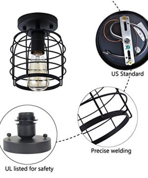 Create For Life Industrial Vintage Flush Mount Ceiling LightRustic Metal Cage Pendant Lighting Lamp Fixture For Hallway Stairway Kitchen Garage E26 Black Painting Finish 0 3 300x360