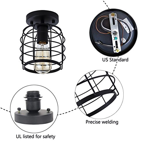 Create For Life Industrial Vintage Flush Mount Ceiling LightRustic Metal Cage Pendant Lighting Lamp Fixture For Hallway Stairway Kitchen Garage E26 Black Painting Finish 0 3