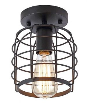 Create For Life Industrial Vintage Flush Mount Ceiling LightRustic Metal Cage Pendant Lighting Lamp Fixture For Hallway Stairway Kitchen Garage E26 Black Painting Finish 0 300x360