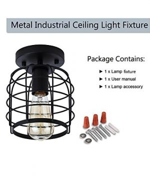 Create For Life Industrial Vintage Flush Mount Ceiling LightRustic Metal Cage Pendant Lighting Lamp Fixture For Hallway Stairway Kitchen Garage E26 Black Painting Finish 0 4 300x360