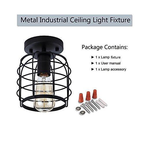 Create For Life Industrial Vintage Flush Mount Ceiling LightRustic Metal Cage Pendant Lighting Lamp Fixture For Hallway Stairway Kitchen Garage E26 Black Painting Finish 0 4