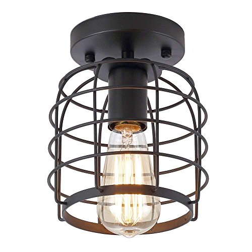 Create For Life Industrial Vintage Flush Mount Ceiling LightRustic Metal Cage Pendant Lighting Lamp Fixture For Hallway Stairway Kitchen Garage E26 Black Painting Finish 0