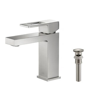 Cubic++Single+Hole+Bathroom+Faucet+with+Drain+Assembly