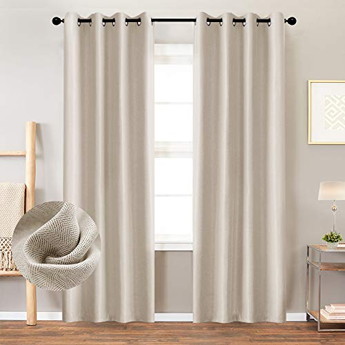 Curtains 84 Inch Beige Textured Herringbone Curtains Room Darkening Window Curtains Bedroom Living Room Kitchen 2 Panels One Set 0
