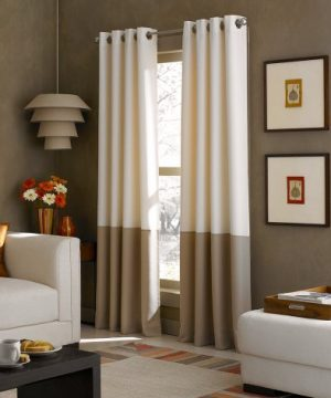 Curtainworks Kendall Color Block Grommet Curtain Panel 95 Inch Ivory 0 300x360