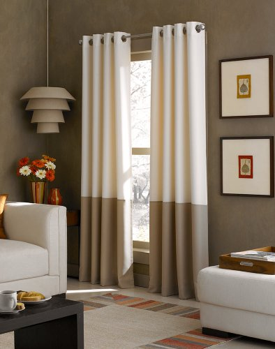 Curtainworks Kendall Color Block Grommet Curtain Panel 95 Inch Ivory 0