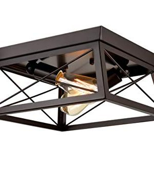 DANXU Lighting Industrial Flush Mount Ceiling Light Fixture Oil Rubbed Bronze Two Lights 0 300x332