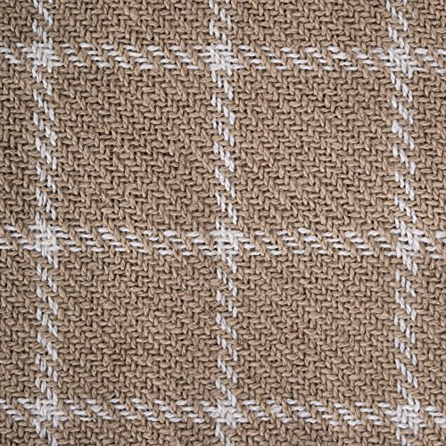 DII 100 Cotton Checked Throw For IndoorOutdoor Use Camping Bbqs Beaches Everyday Blanket 50 X 60 Stone 0 0