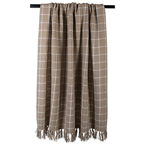 DII 100 Cotton Checked Throw For IndoorOutdoor Use Camping Bbqs Beaches Everyday Blanket 50 X 60 Stone 0 2