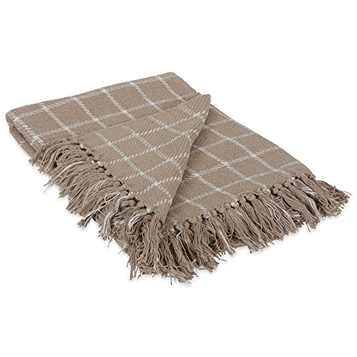 DII 100 Cotton Checked Throw For IndoorOutdoor Use Camping Bbqs Beaches Everyday Blanket 50 X 60 Stone 0