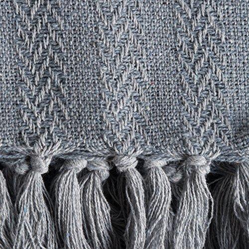 DII 100 Cotton Textured Throw Herringbone IndoorOutdoor Everyday Blanket Tonal Cool Gray 0 1