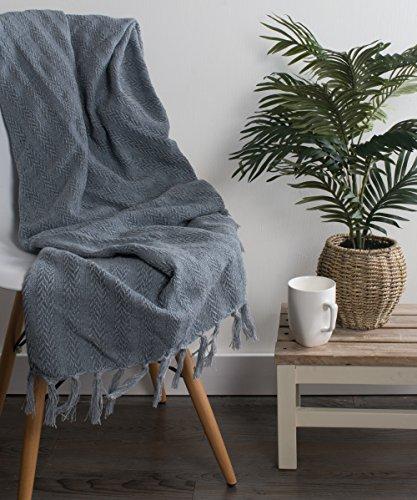 DII 100 Cotton Textured Throw Herringbone IndoorOutdoor Everyday Blanket Tonal Cool Gray 0 2