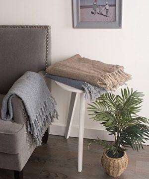DII 100 Cotton Textured Throw Herringbone IndoorOutdoor Everyday Blanket Tonal Cool Gray 0 3 300x360