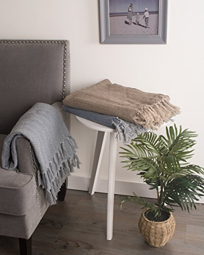 DII 100 Cotton Textured Throw Herringbone IndoorOutdoor Everyday Blanket Tonal Cool Gray 0 3