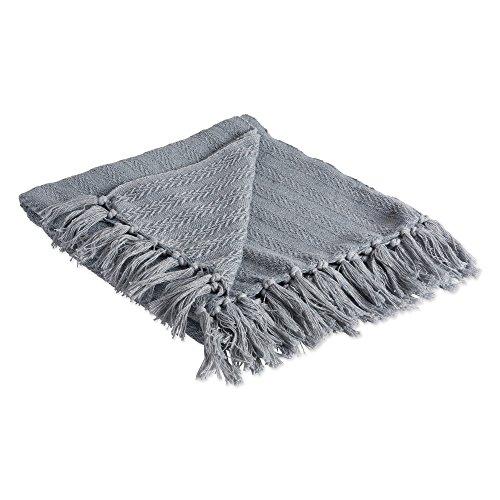DII 100 Cotton Textured Throw Herringbone IndoorOutdoor Everyday Blanket Tonal Cool Gray 0