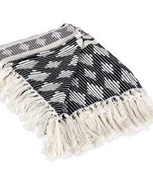 DII-Classic-Colby-Southwest-Cotton-Handwoven-Stripe-Blanket-Throw-with-Fringe-for-Chair-Couch-Picnic-BBQ-Camping-Beach-50-x-60-BlackGray-0-2