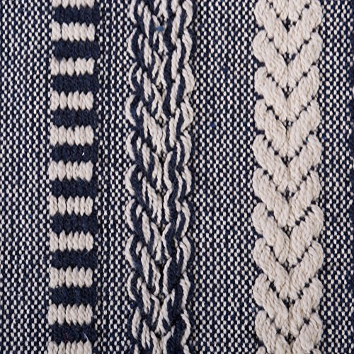 DII Farmhouse Cotton Stripe Blanket Throw With Fringe For Chair Couch Picnic Camping Beach Everyday Use 50 X 60 Braided Stripe Navy 0 0