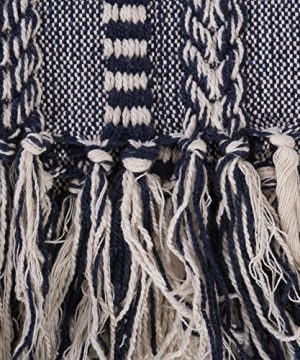 DII Farmhouse Cotton Stripe Blanket Throw With Fringe For Chair Couch Picnic Camping Beach Everyday Use 50 X 60 Braided Stripe Navy 0 1 300x360
