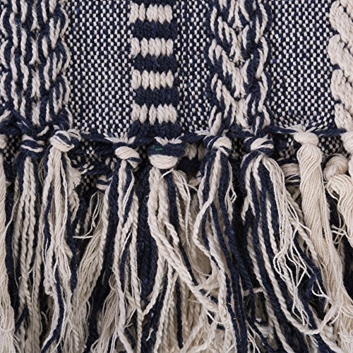 DII Farmhouse Cotton Stripe Blanket Throw With Fringe For Chair Couch Picnic Camping Beach Everyday Use 50 X 60 Braided Stripe Navy 0 1