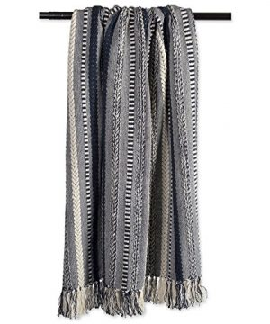 DII Farmhouse Cotton Stripe Blanket Throw With Fringe For Chair Couch Picnic Camping Beach Everyday Use 50 X 60 Braided Stripe Navy 0 2 300x360