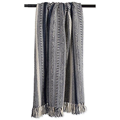 DII Farmhouse Cotton Stripe Blanket Throw With Fringe For Chair Couch Picnic Camping Beach Everyday Use 50 X 60 Braided Stripe Navy 0 2