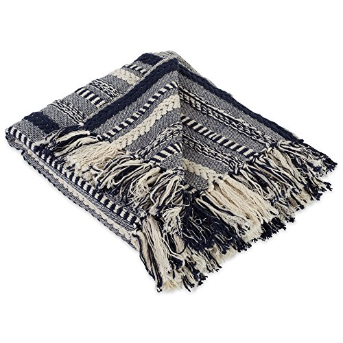 DII Farmhouse Cotton Stripe Blanket Throw With Fringe For Chair Couch Picnic Camping Beach Everyday Use 50 X 60 Braided Stripe Navy 0