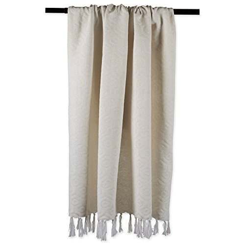 DII Modern Cotton Geometric Blanket Throw With Fringe For For Chair Couch Picnic Camping Beach Everyday Use 50 X 60 Hexagon Beige White 0 2