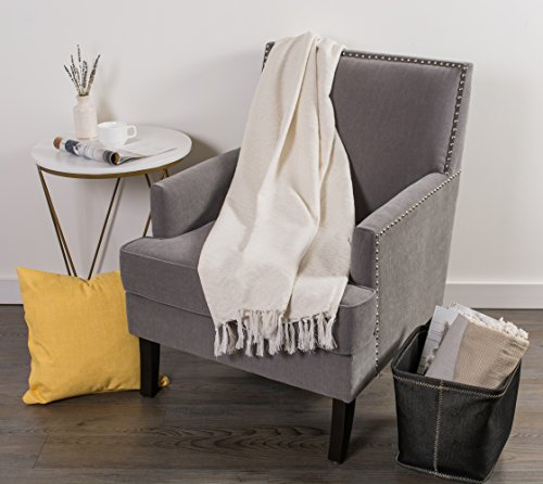 DII Modern Cotton Geometric Blanket Throw With Fringe For For Chair Couch Picnic Camping Beach Everyday Use 50 X 60 Hexagon Beige White 0 3